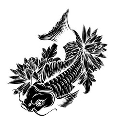 Hand drawn outline koi fish gold japanese carp vector