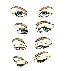 Hand drawn womens eyes vintage vector