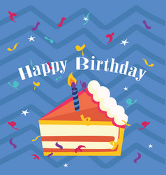 happy birthday cake blue background image vector image