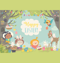 happy children and animals celebrating easter in vector image