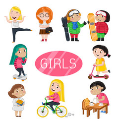 Happy girls characters in various actions vector