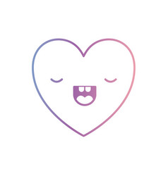 Heart kawaii in frightened expression in degraded vector