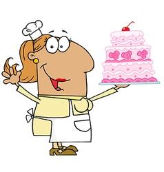 Hispanic Cartoon Cake Baker Woman vector image vector image