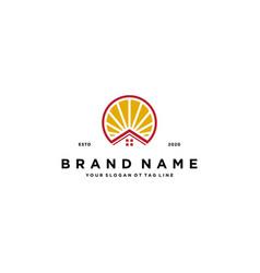 Home sun logo design vector