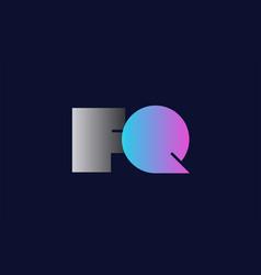 initial alphabet letter fq f q logo company icon vector image
