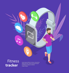 Isometric flat concept of fitness tracker vector