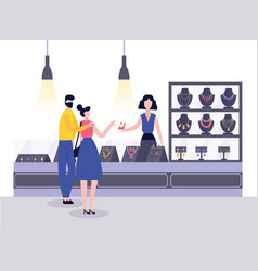 Jewellery shop with seller and couple buying vector