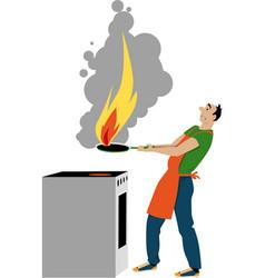 kitchen fire hazard vector image