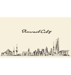 Kuwait skyline vintage drawn vector image