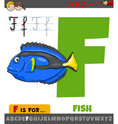 Letter f from alphabet with cartoon fish animal vector