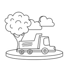 line dump truck in the city with clouds and tree vector image