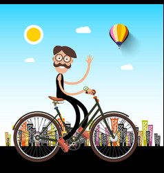 man on bicycle with city on background vector image