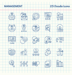 Management 25 doodle icons hand drawn business vector