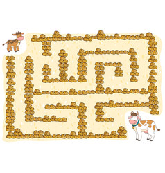 maze game for children cow vector image