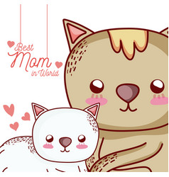 Mothers message card with animals cartoons vector