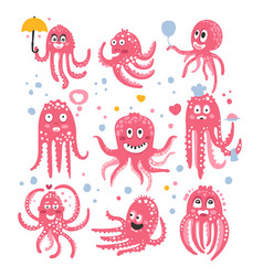 octopus emoticon icons with funny cute cartoon vector image
