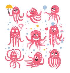 Octopus emoticon icons with funny cute cartoon vector