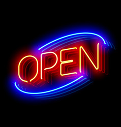 open neon sign with reflection vector image