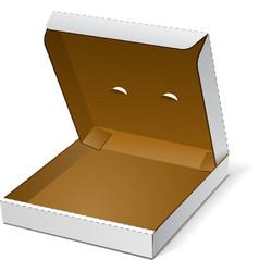 Open White Blank Carton Pizza Box On White vector image