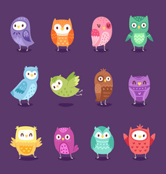 owls cartoon owlet character kids animal vector image