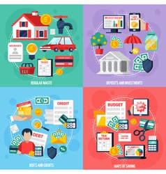 Personal Budget Concept Icons Set vector