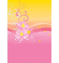 pink flowers on waved background vector image