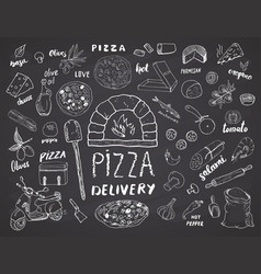 Pizza menu hand drawn sketch set pizza vector