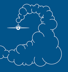 Plane in cky in clouds vector
