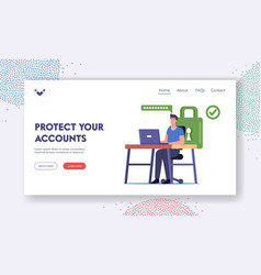 profile and internet account protection landing vector image