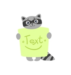 Raccoon With The Template For The Message vector image