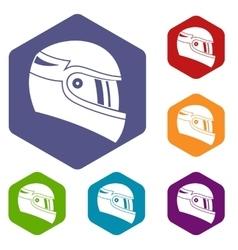 Racing helmet icons set vector
