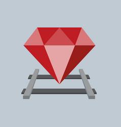 Ruby on the railway flat design vector