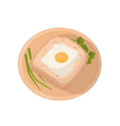 sandwich with fried egg on a plate vector image