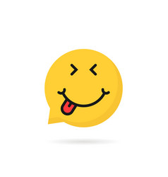 Satisfied emoji speech bubble logo vector