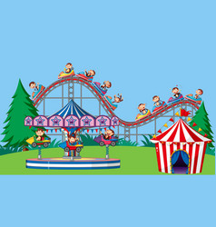 Scene with monkeys on circus rides in park vector