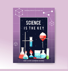 Science poster design with laboratory supplies vector