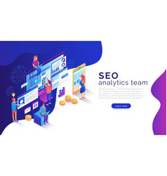 Seo analysis and optimization landing page vector