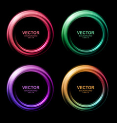 Set colorful blurry swirl circle banners vector
