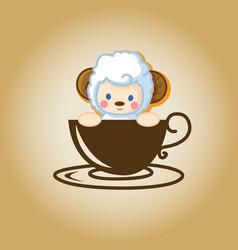 Sheep logo coffee vector