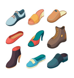 shoes isometric fashion foot shoe boots sandals vector image