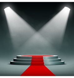Spotlights illuminate the pedestal with red carpet vector