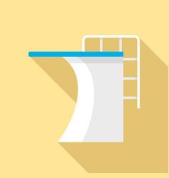 Springboard pool icon flat style vector