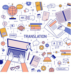 Square banner template with hands translators vector