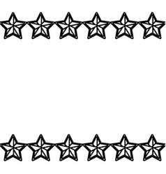 stars frame white background black and white vector image