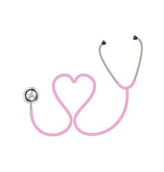 Stethoscope in shape heart in pink design vector