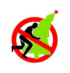 Stop christmas ban ing christmas tree vector