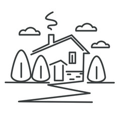 Suburban house or cottage in village isolated vector