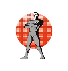 Super Hero Standing Retro vector image