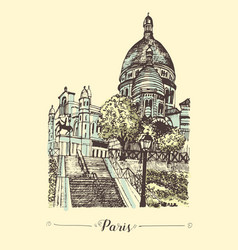 the basilica of the sacred heart of paris hand vector image