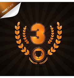 Third Place Bronze Medal Theme on Dark Background vector